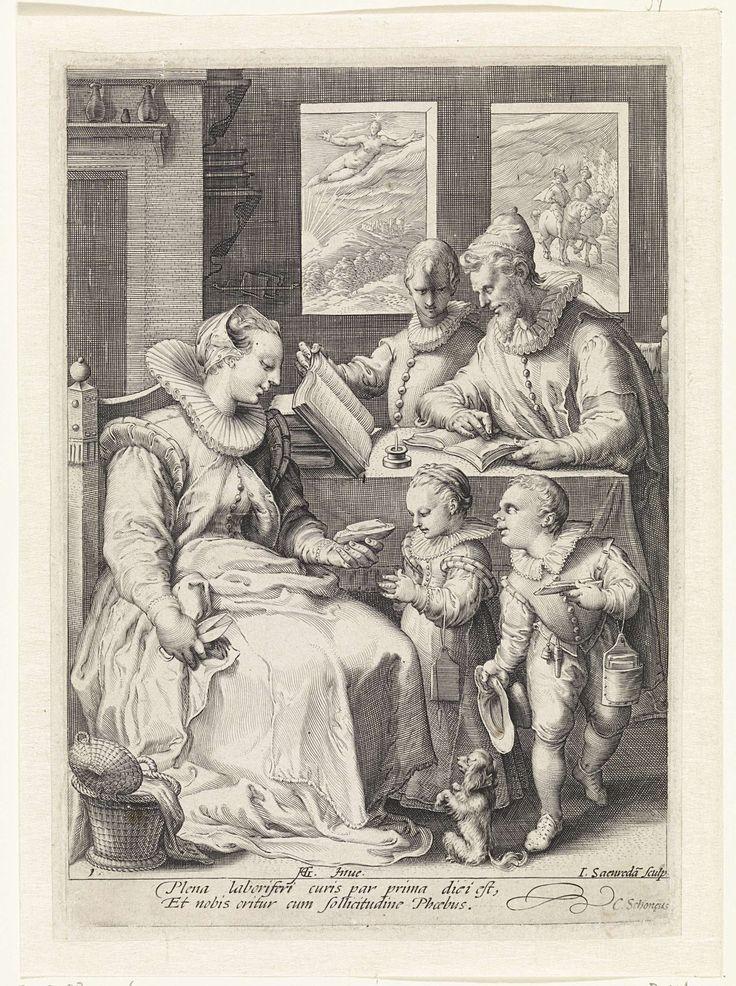 De ochtend, Jan Saenredam, Cornelius Schonaeus, 1575 - 1607