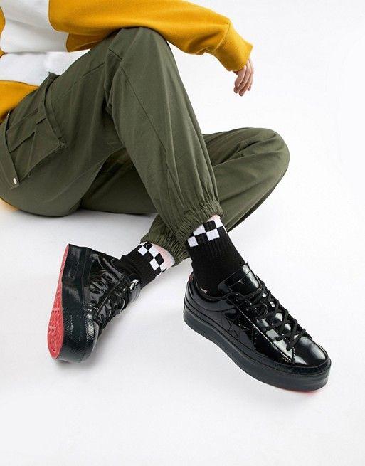 Converse One Star platform ox black sneakers in 2019  3545ec0eb