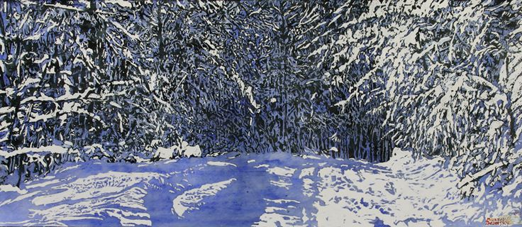 "daylight crossing paths with overnight snowfall draping eternities and distances 20"" x 48""  micheal zarowsky mixed media (watercolour / acrylic painted directly on gessoed birch panel) / private collection"