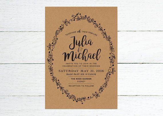 Rustic Wedding Invite – Vintage Border Printable Wedding Invitation Suite