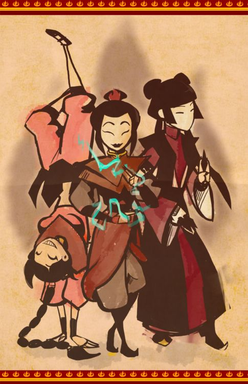 -Ty-Lee, Azula, and Mai by http://notkatiebolvin.tumblr.com/