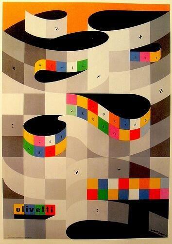 ヘルベルト・バイヤー 『オリヴェッティ社タイプイターのポスター』 (1953) Herbert Bayer - Olivetti Typewriter  #バウハウス