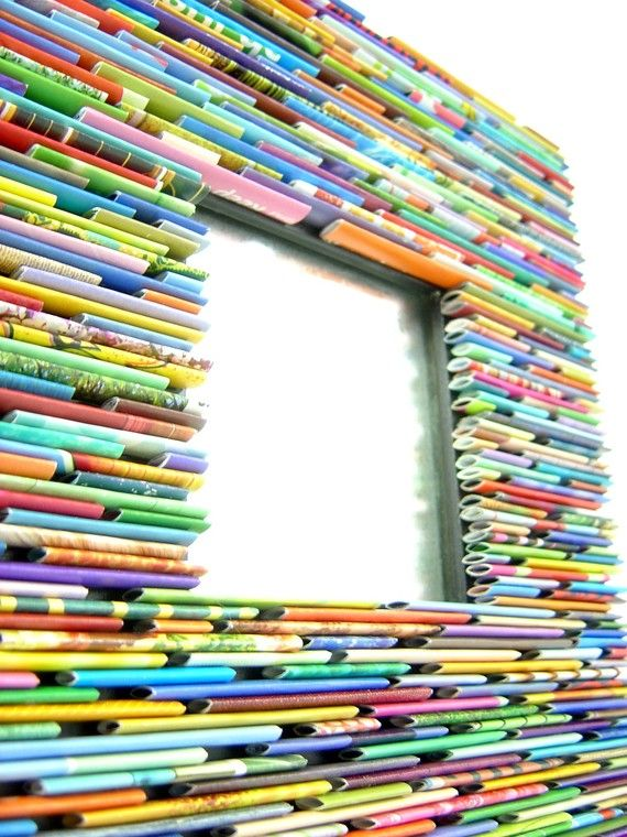 bright and colorful square mirror- made from recycled magazines - by http://www.etsy.com/shop/colorstorydesigns $82