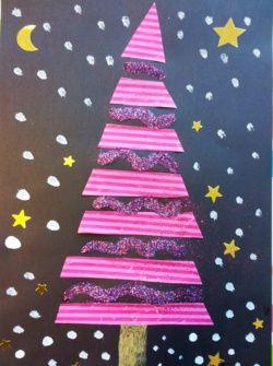 Sapin de Noël maternelle Garder idée des paillettes entre les bandes pour an prochain!