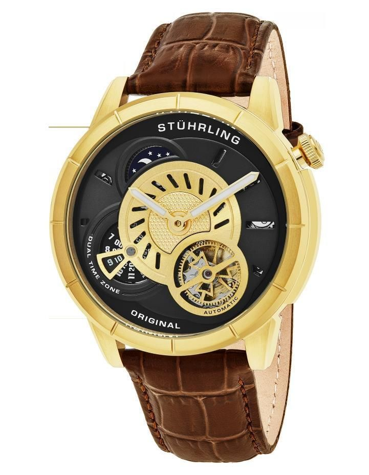 Stuhrling 686 02 Tesla Dual Time Open Heart Automatic Brown Leather