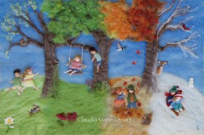 How to create a wool painting of the four seasons