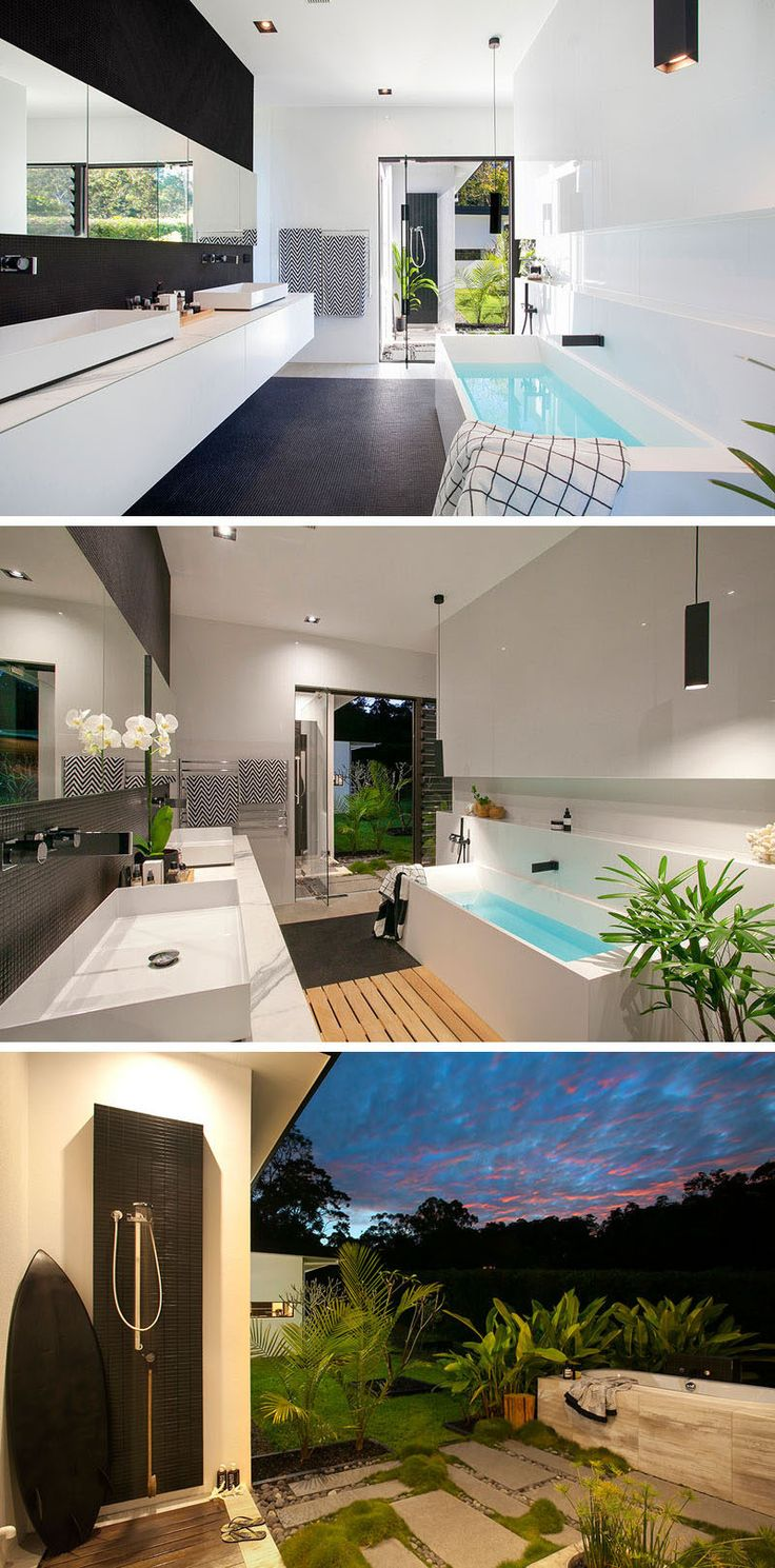 This master bathroom opens up to the outside, where there's a secluded area home to an outdoor shower and a deep free-standing bath.