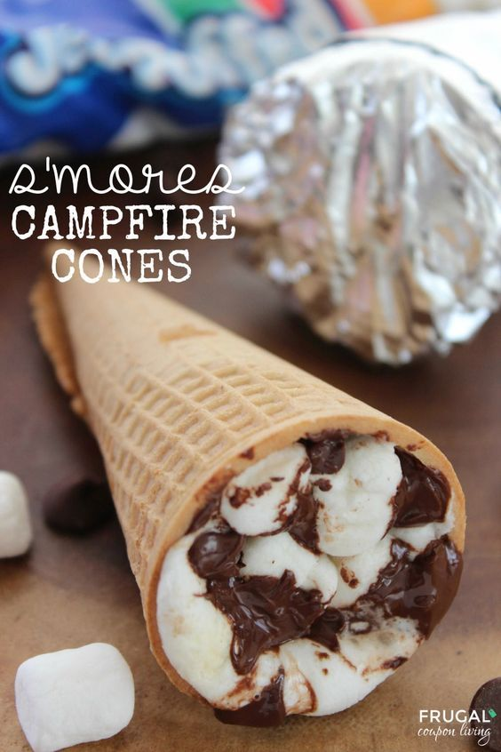 S'mores Campfire Cones - S'mores recipe outside the graham cracker box on Frugal Coupon Living. Great camping idea for summer snack for the kids. Fun Dessert!