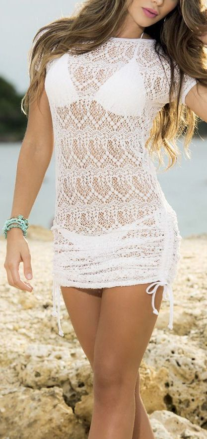 Lace Ruched Cover-Up