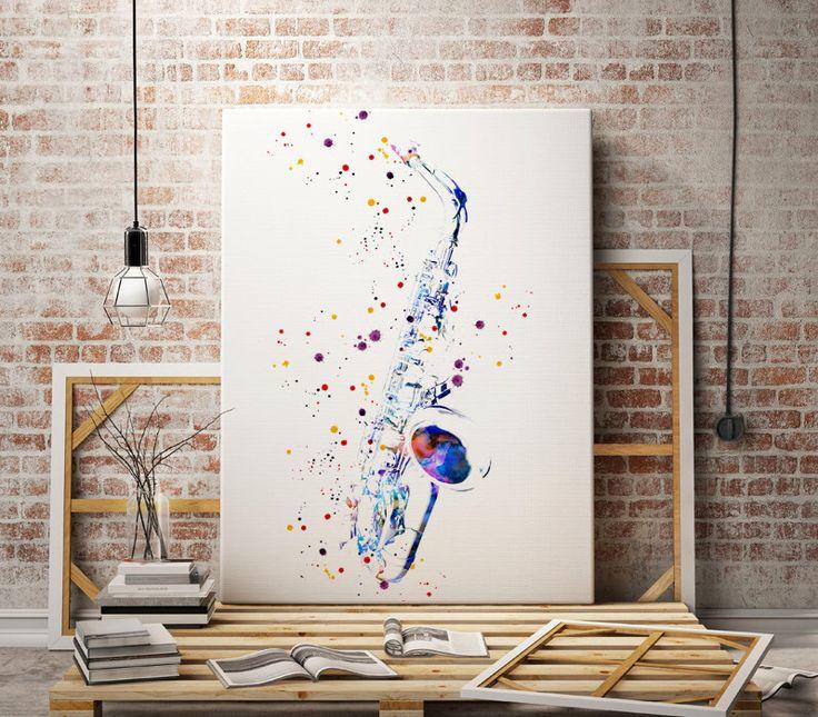 Saxophone sax jazz music watercolor art print abstract poster illustration