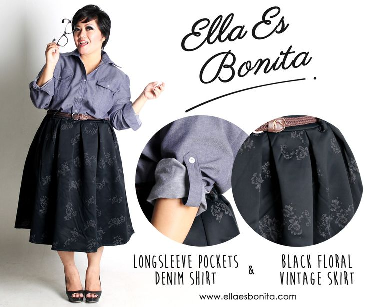 Longsleeve Pockets Denim Shirt & Black Floral Vintage Skirt - This vintage shirt and skirt features high quality chambray denim for shirt and thick blackout for skirt which specially designed for sophisticated curvy women originally made by Indonesian Designer & Local Brand: Ella Es Bonita. Available at www.ellaesbonita.com