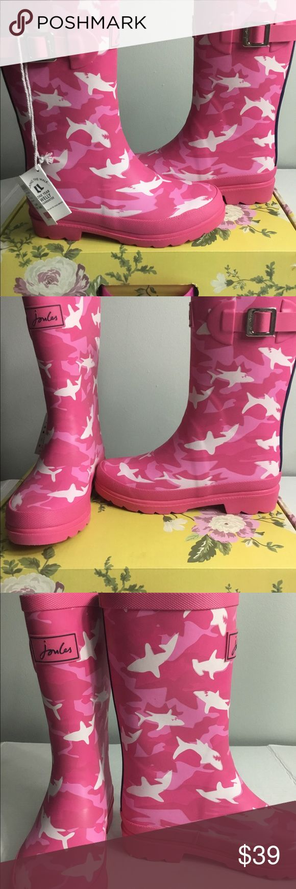 "Joules Welly Kids Girls Rainboots Rubber Rubber sole Shaft measures approximately 8"" from arch Boot opening measures approximately 11.25"" around Removable insoles Textile lining Water dispersing grip tread Reflective strip to back Joules Shoes Winter & Rain Boots"