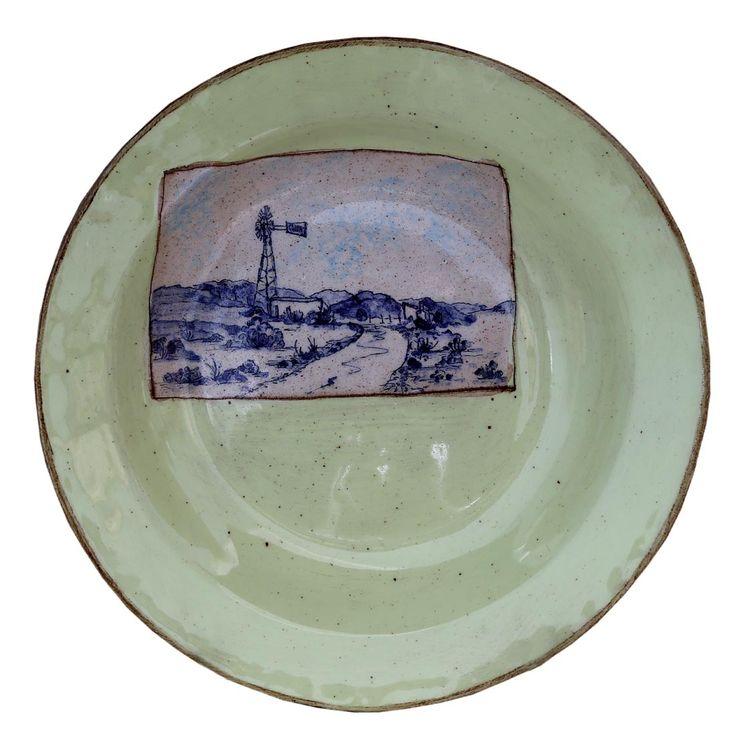An original ceramic work by Lisa Ringwood entitled: 'Karoo Plate V', ceramic, d…
