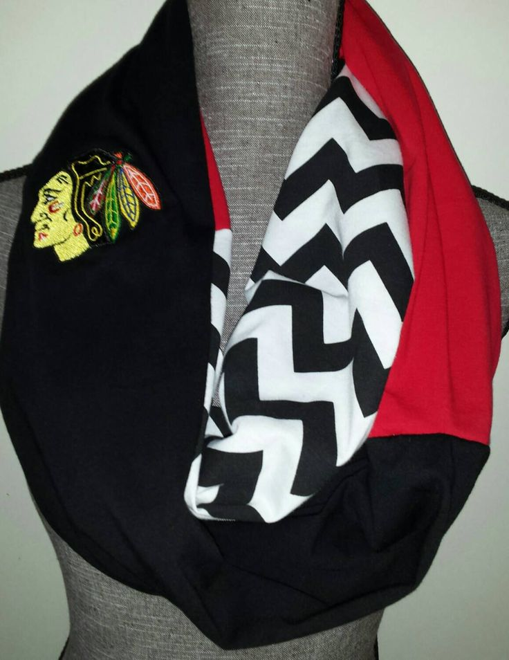 Chicago Blackhawks Scarf, Loop Scarf, Embroidered Logo, Chevron Print by ItsPeachyKeen on Etsy https://www.etsy.com/listing/214122661/chicago-blackhawks-scarf-loop-scarf