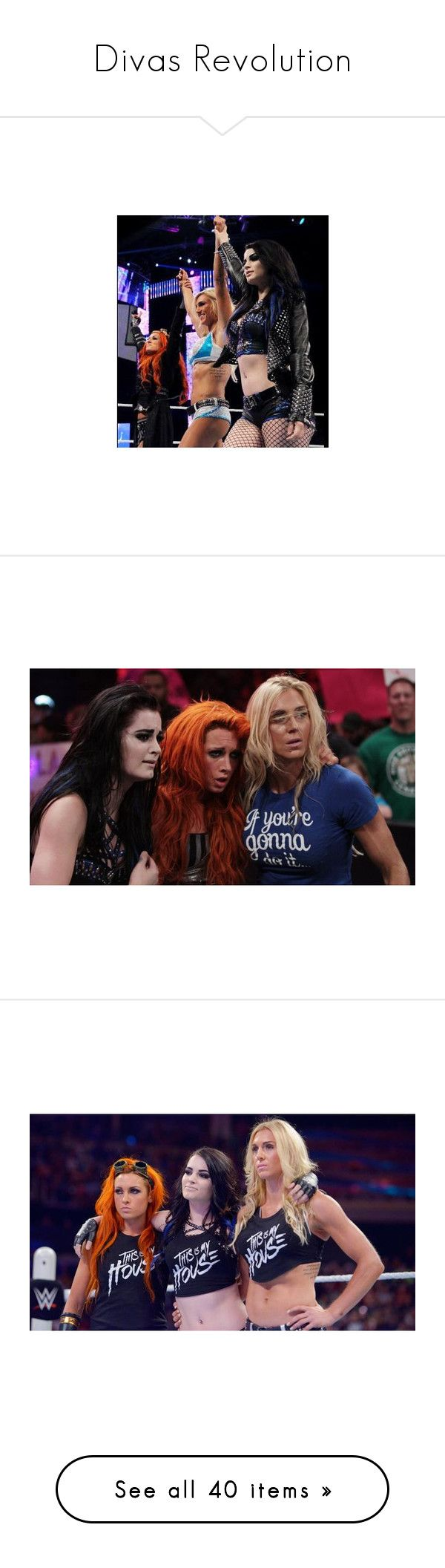"""""""Divas Revolution"""" by queenreigns-916 ❤ liked on Polyvore featuring wwe, people, becky lynch, divas, wwe diva, charlotte, wwe figures, paige, superstars and nikki bella"""