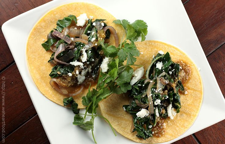 Soft Tacos with Green Chard, Caramelized Onions, and Queso Fresco