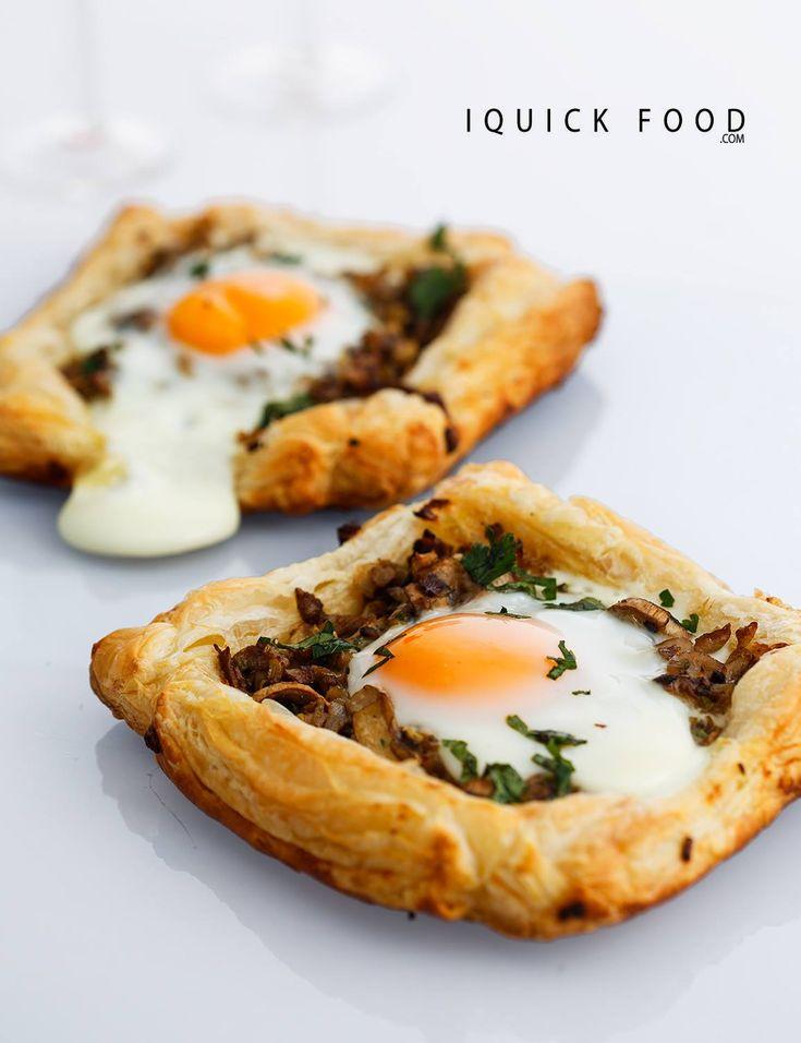 Mushroom Egg Breakfast Pastry Tarts #breakfast #egg #mushroom #pastry #tarts