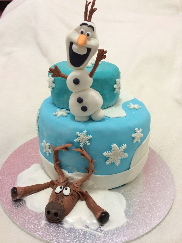 Frozen cake- Olaf and Sven fondant figures