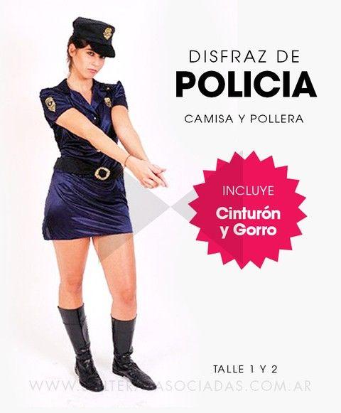Disfraz de Policía - Comprar en Solteras Asociadas. Disfraz de Policía Incluye camisa, pollera, cinturón y gorra Disponible en talle 1 y 2  Ideal para combinar con nuestras esposas con peluche.
