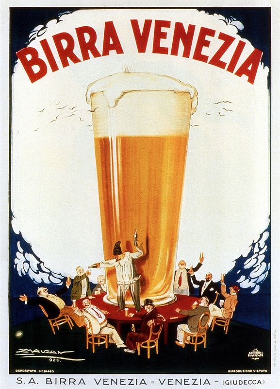 Vintage Italian Posters ~ #illustrator #Italian #posters ~  Achille Mauzan. Venezia Birra 1926