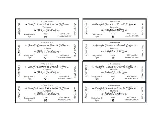 Event tickets - Templates