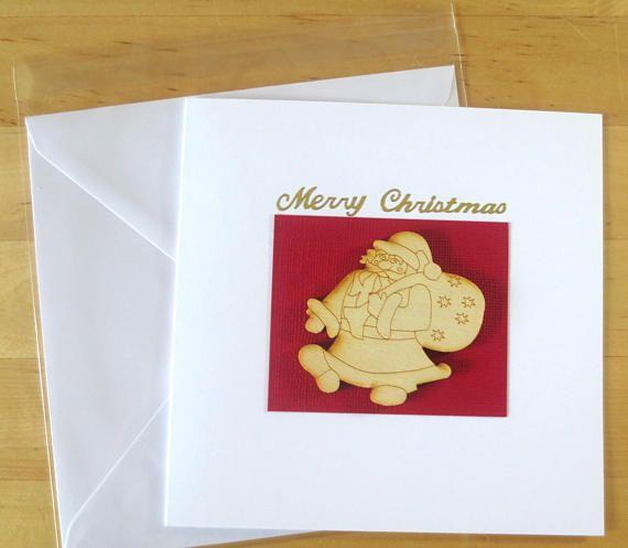 Wood Christmas Card  Christmas card handmade Handmade