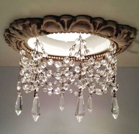 "Beaux-Artes Victorian Recessed Light Trims embellished with 1-1/2"" Clear U-Drop crystals and 8mm Czech crystal chain 