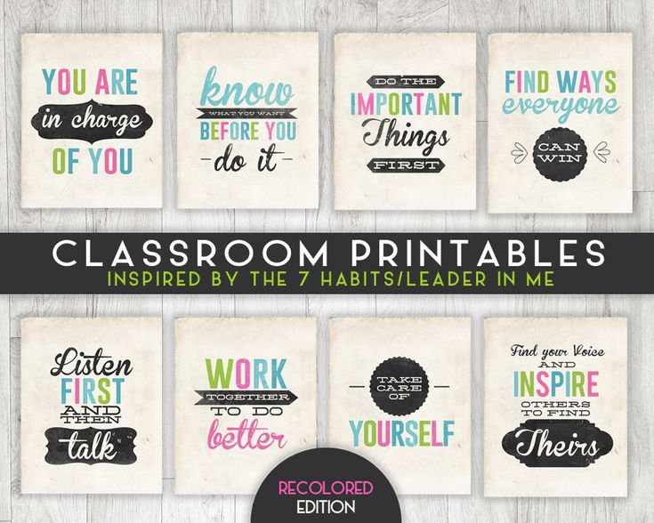 Classroom Printable Posters, 7 Habits Inspired, Leader in Me, INSTANT DOWNLOAD - 8x10 - 8 posters total by AlwaysSunnyCo on Etsy https://www.etsy.com/listing/463214499/classroom-printable-posters-7-habits