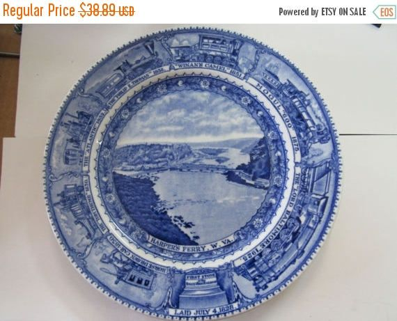 """Baltimore And Ohio Railroad Vintage Blue & White China 9"""" Dinner Plate Circa 1930's by NewBernEmporium on Etsy"""