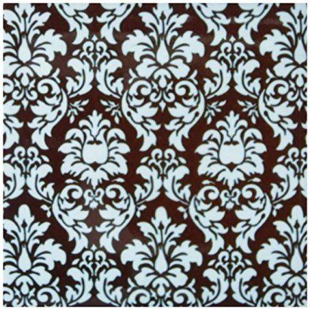 3drose Turquoise On Brown Damask Ceramic Tile Coasters Set Of 4 Pink Damask Damask Carousel Designs