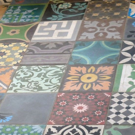 Cement encaustic tiles from The Stone and Ceramic Warehouse | Bathroom flooring | PHOTO GALLERY | Ideal Home | Housetohome
