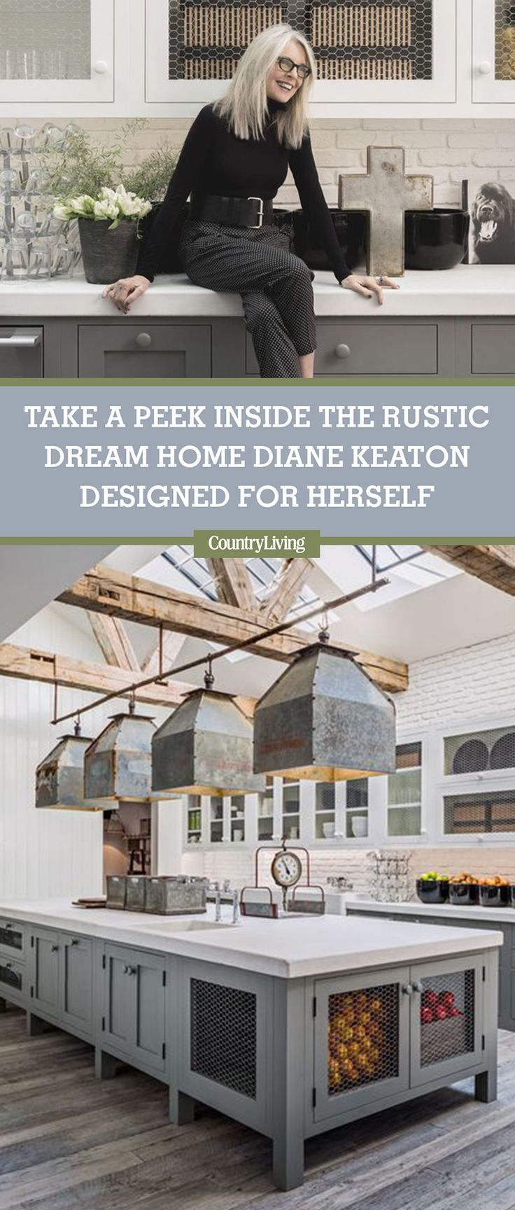 For the past few decades, Academy Award-winning actress Diane Keaton has spent much of her free time off set on a series of construction sites flipping houses. Yes, the Hollywood star loves to get her hands dirty and transform crumbly structures into dreamy homes. Click to see inside her home that Pinterest inspired. #goals