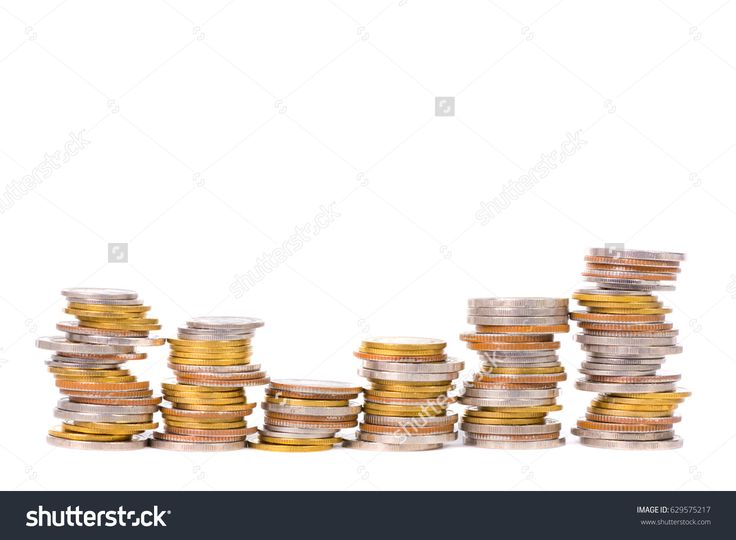 Columns of coins, piles of coins arranged on white background, business idea.