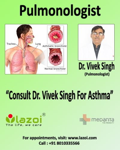 Dr. Vivek Singh is an expert in managing patients of #Asthma, #Tuberculosis, #Lung_cancer, #Bronchitis, #Bronchiectasis, #Sleep_apnea, #Goodpasture_syndrome, #Pneumonia, #Bronchiolitis etc. To get an appointment with Dr. Vivek Singh click on the link : https://goo.gl/SizKhT or call us at 8010335566 or whatsapp us your query at 958-25-45-141