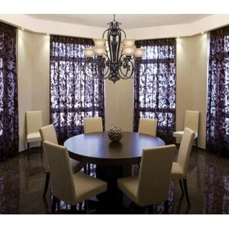 Golden Lighting 6029 9 EB 2 Tier Chandelier857 37 Purple CurtainsDrapes CurtainsDining Room