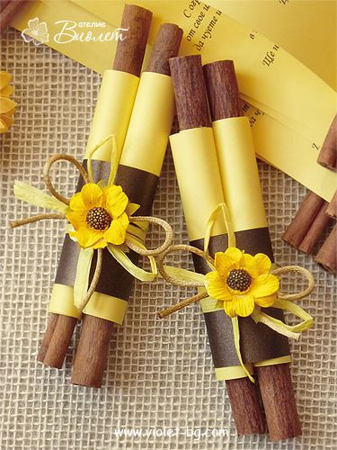 Sunflower Wedding Invitation Scroll with cinnamon sticks from www.violet-bg.com