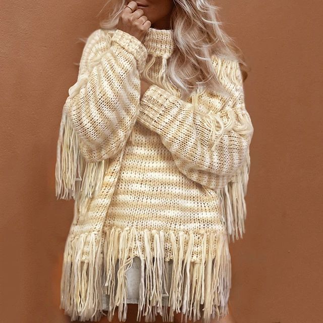 Boho Long Knitted Turtleneck Pullover Sweater