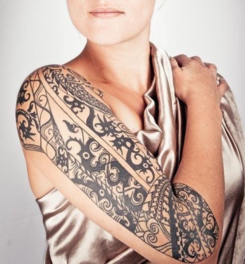 Awesome Half Sleeve Tribal Tattoo for Women