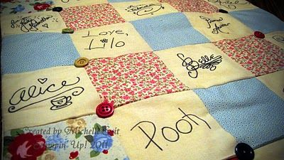 Disney Autograph quilt...what a cute idea for their first trip! 3rd year in college taking my family to disneyland