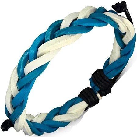 Nastavitelný náramek, vyrobený z pravé kůže modré a bílé barvy