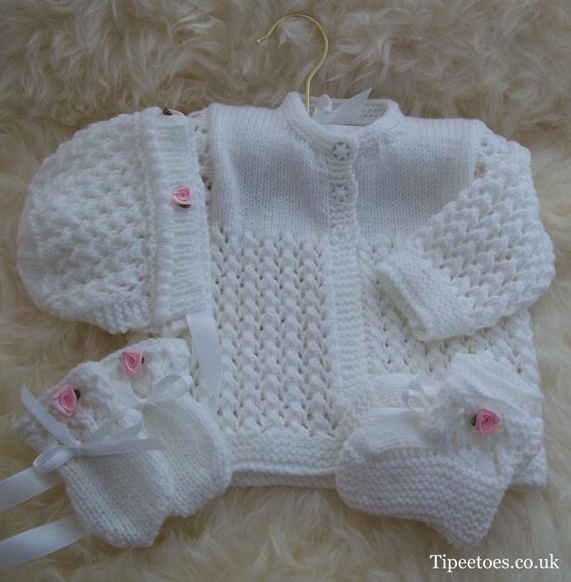 Hand Knitted Baby Girls White Matinee Set £20.00