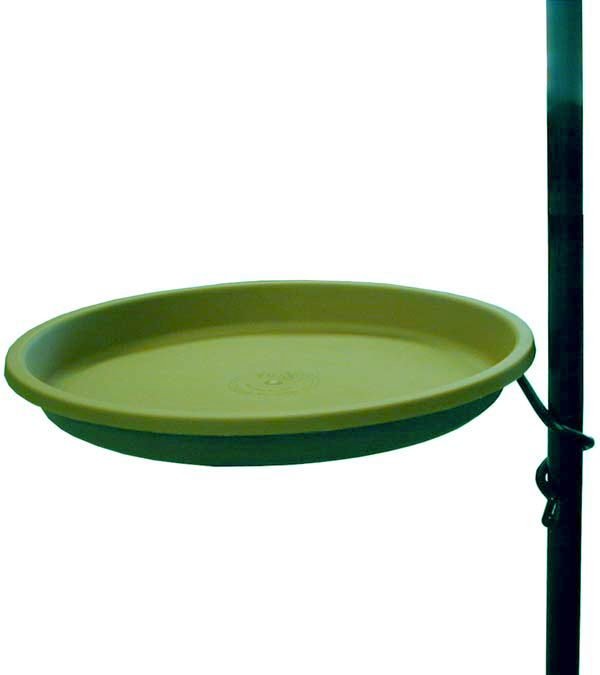 BA7W  Coil pole mounted  bird bath with  metal hanger