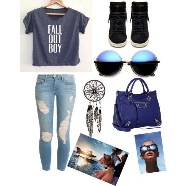 all blue.... by fashionaddict-india on Polyvore featuring polyvore fashion style Frame Denim Yves Saint Laurent Balenciaga Revo Le Specs