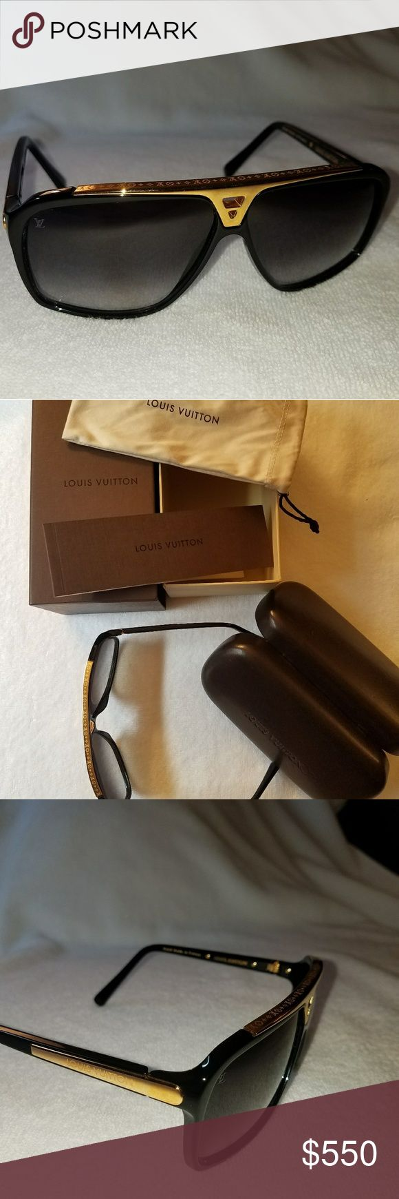 Louis Vuitton Evidence Z0350W Black and Gold Black and Gold Louis Vuitton Evidence Z0350W 100% UV protection  Acetate frame Graded lenses  Hand made in France  Barely worn Comes with hard case, travel bag/dust bag, original box, booklet Louis Vuitton Accessories Sunglasses