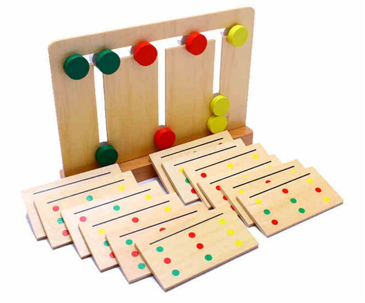 Baby Toy Montessori Wooden Toy Teaching Three Color Sorting Array Game for Early Childhood Education Preschool Training Learning