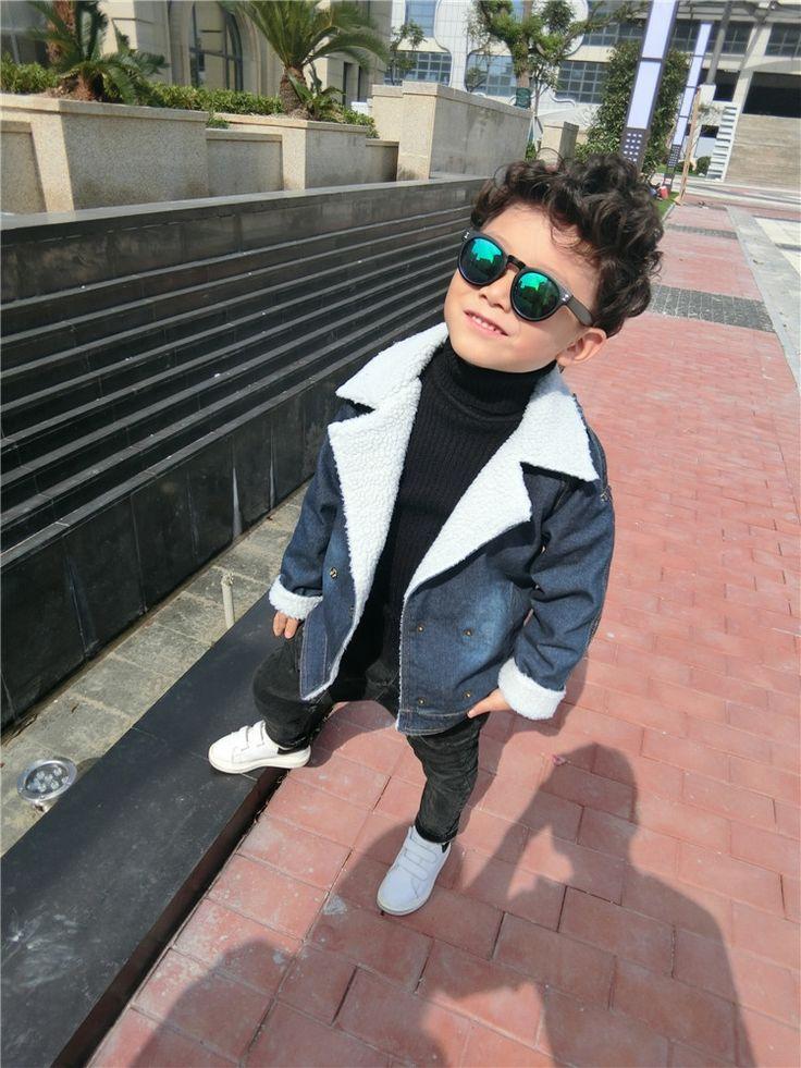 26.66$  Buy here - http://alisqf.shopchina.info/go.php?t=32771715964 - Winter Baby boy Coat and Jackets Warm Plus velvet Woolen coat for girl Lambskin denim jacket for girl turn down collar coat 2016 26.66$ #aliexpressideas