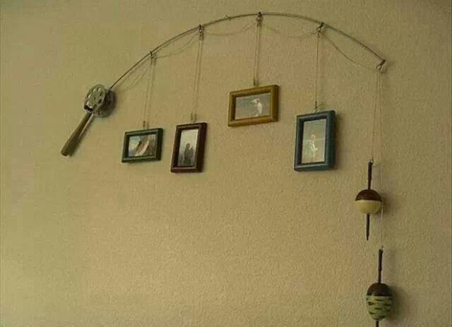 Creative use of old rod and reel...I'm thinking Grampa!