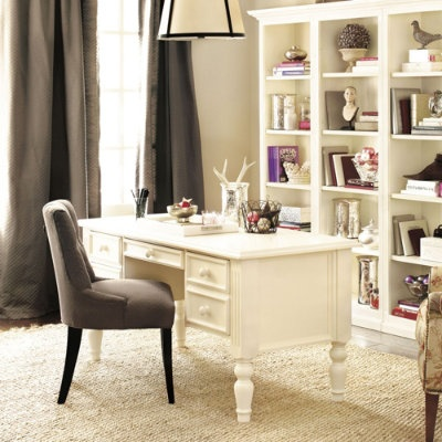 Ballard Designs: delicate white office with gray/black integrated. Great wall color.