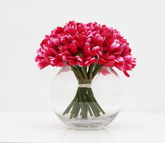 Hot Pink Gerbera wedding table centerpiece by AliceThorWeddings