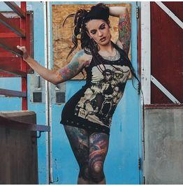 Still Alive Tank Zombie Horror Black Eyelet Studs Punk Rock Tattoo Style